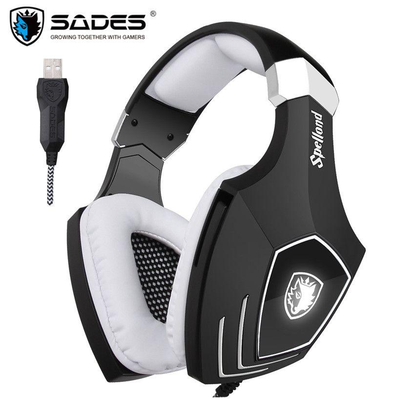 USB Игровые наушники для компьютера SADES A60/OMG за ухо стерео PC Gamer игры гарнитура С микрофоном MIC Шум изоляции LED