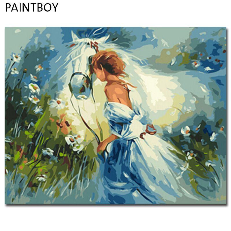 PAINTBOY Encadrée BRICOLAGE Numérique Peinture À L'huile Par Numéros De Chevaux Peinture & Calligraphie Home Decor Wall Art GX9869 40*50 cm