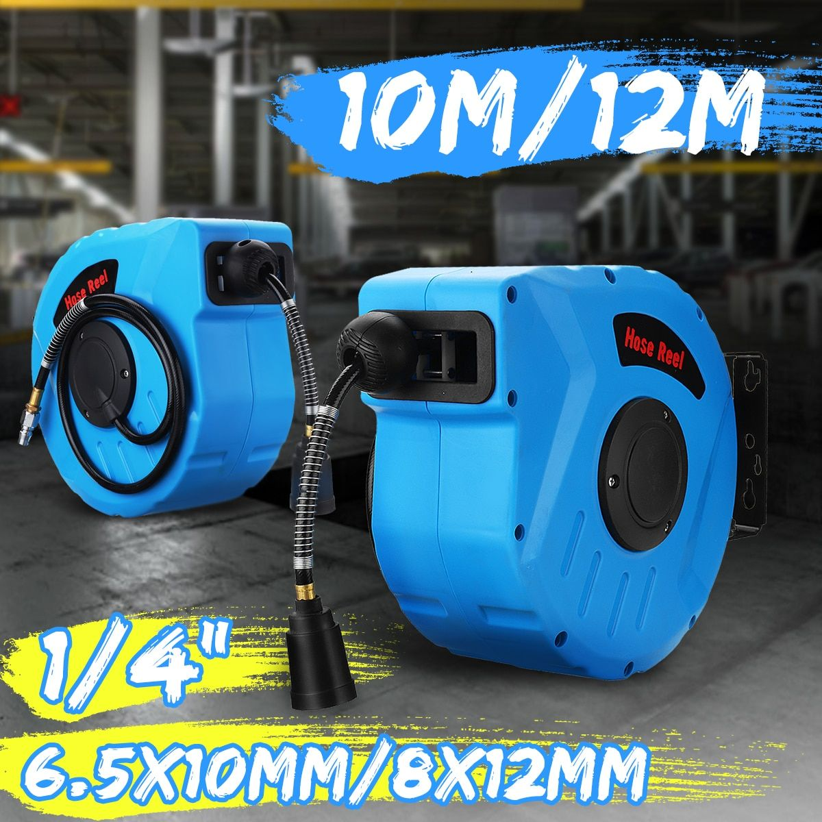 10M/ 12M universal air hose reel for home Auto retractable reel car washer Flexible Garden Air Hose Reel for Clean Dust