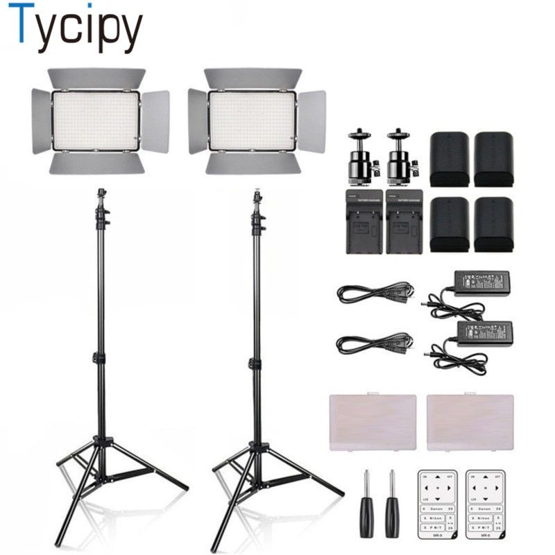 Tycipy Dimmable 2Set KM-600A Studio Video Photo LED Light 3200K-5600K 3500LM Camera Camcorder For DSLR 4Betteries and Bracket