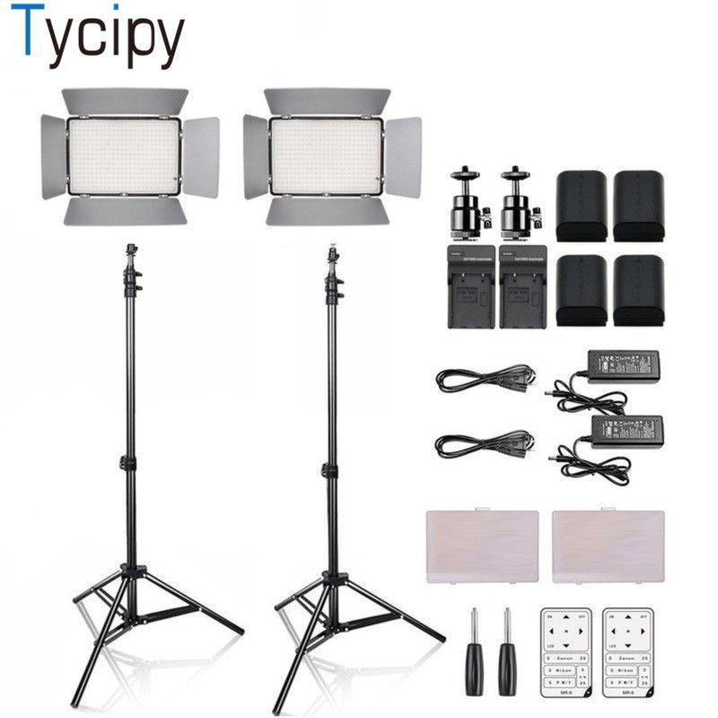Tycipy Dimmbare 2 Satz KM-600A Studio Video Foto FÜHRTE Licht 3200 Karat-5600 Karat 3500LM Kamera Camcorder Für DSLR 4 Bette und Halterung