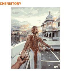 Chenistory картина без рамки романтическая DIY картина по номерам Современная Настенная живопись ручная роспись маслом на холсте для домашнего д...