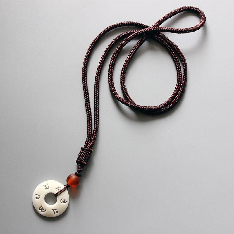 Eastisan tibétain bouddhiste fait à la main Simple chaîne de corde avec OM Mantra signe Tagua écrou pendentif collier bouddhisme amulette bijoux