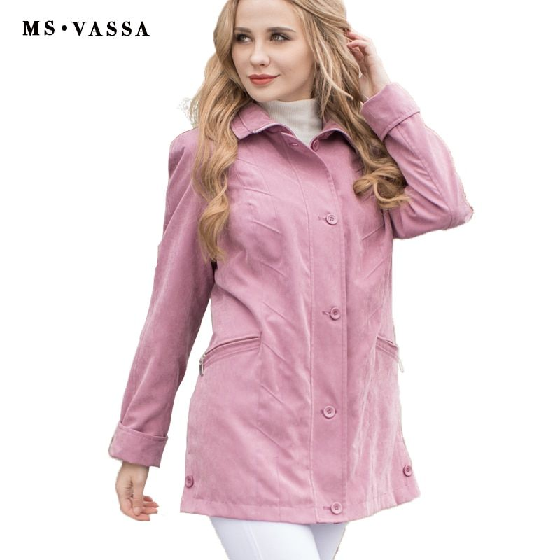 MS VASSA Women jacket 2017 New Autumn Spring Ladies coats micro moss classic jacket turn-down collar plus size 4XL 7XL outerwear