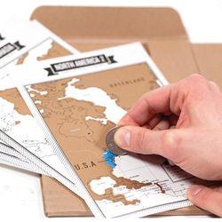 Populaire Récit de Voyage Portables + Scratch Carte du Journal de Voyage Touristique Journal avec 8 Mini Cartes Du Monde