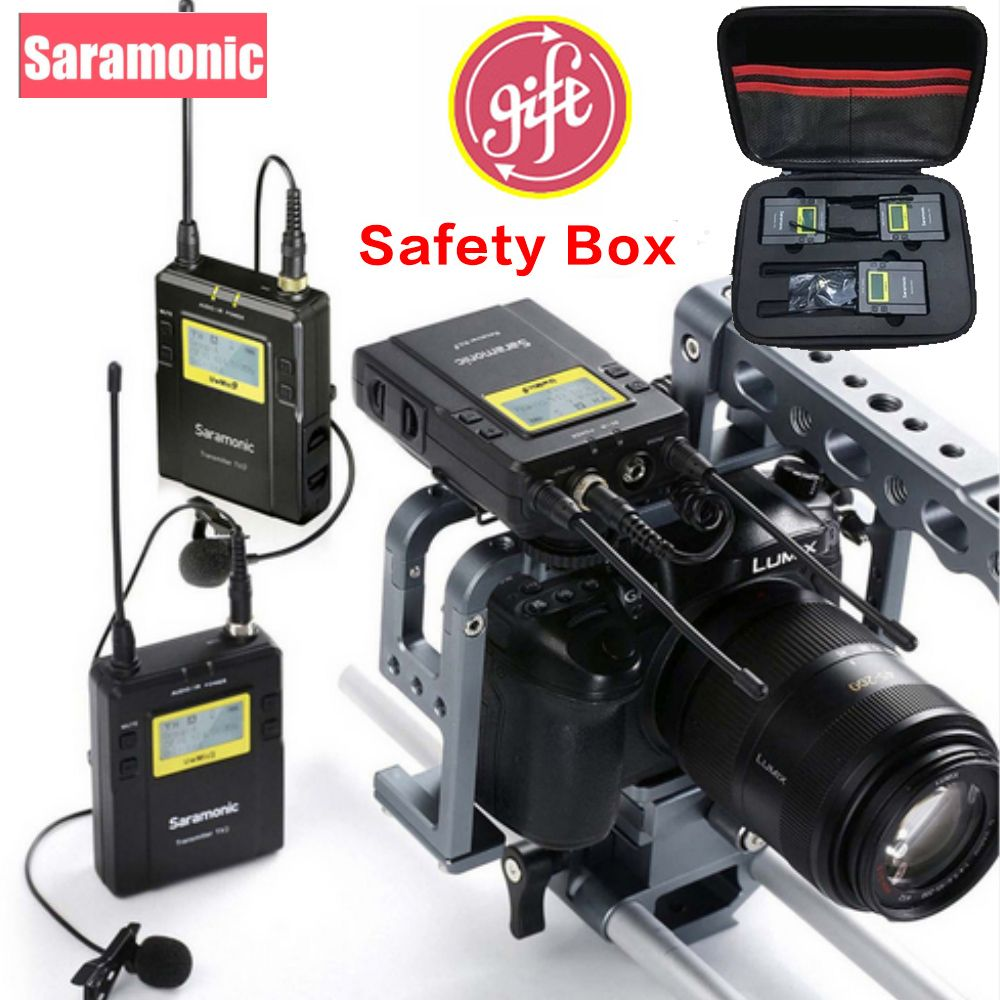 Saramonic UWMIC9 Broadcast UHF Camera Wireless Lavalier Microphone System Two Transmitters One Receiver for Canon DSLR Camcorder