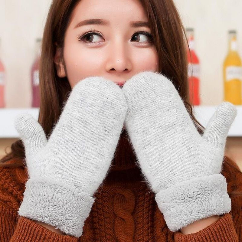 Lovely Female Winter Knit Wool Thicker Cashmere Velvet Warm Black Gloves Ladies Cute Fingerless Women Solid Mittens Guantes L83