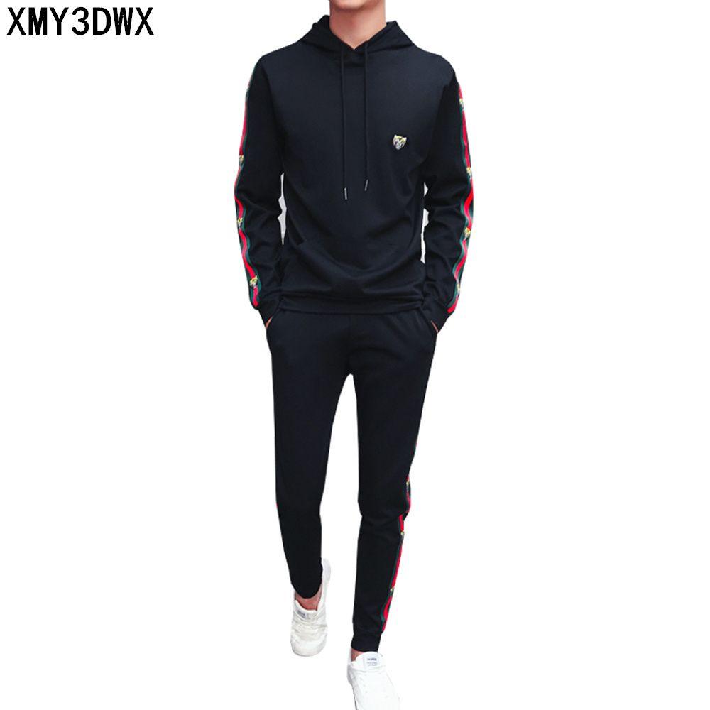 2017 Fashion Sporting Suit Men Casual Hoodies Set Hooded Letter Tracksuits Male Sweatshirts +Pants 2 Piece Set plus size 4XL 5XL