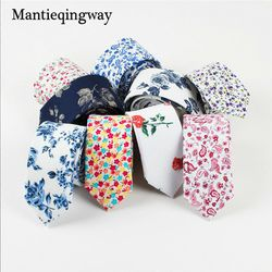 Mantieqingway 6cm Tie Vintage Cotton Floral Neck Tie Men Business Bowtie Gravatas Fashion Casual Printed Ties for Men Wedding