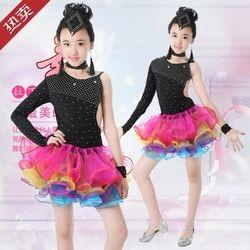 Gadis Gaun Gadis Pakaian Gadis Tari Latin rumba samba Salsa ballroom Tahap Memakai Kostum anak berpakaian Tarian rakyat Cina
