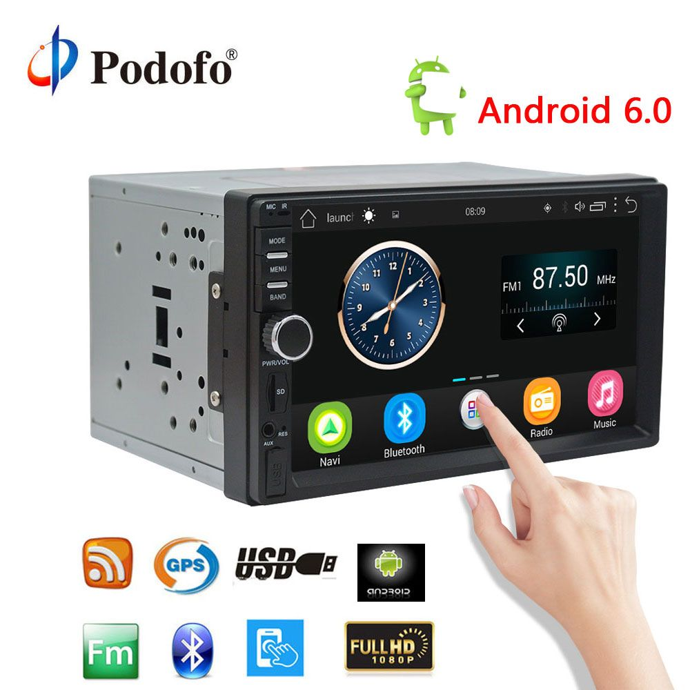 Podofo 7'' Android Car Radio Stereo GPS Navigation Bluetooth USB SD 2 Din Touch Car Multimedia <font><b>Player</b></font> Audio <font><b>Player</b></font> Autoradio