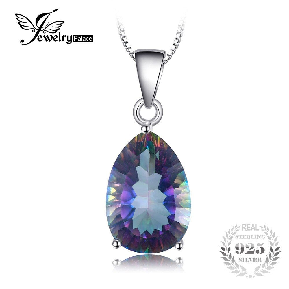 JewelryPalace Pear 4.5ct Genuine Rainbow Fire Mystic Topaz Pendant For Women Solid 925 Sterling Silver Jewelry Not Include Chain