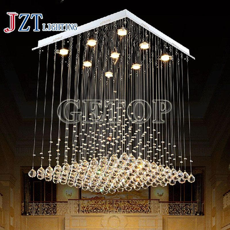 J best price fashion Square Crystal chandelier Light Pyramid Shape lustres Lamps k9 Crystal Light for Stair Foyer droplight