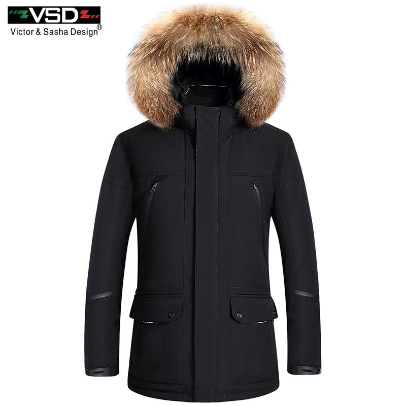 Men's Hood Thick White Duck Down Jackets Male Parkas Warm Windproof Hood Fur Collar Brand Clothing Plus Size 4XL Black Red Beige