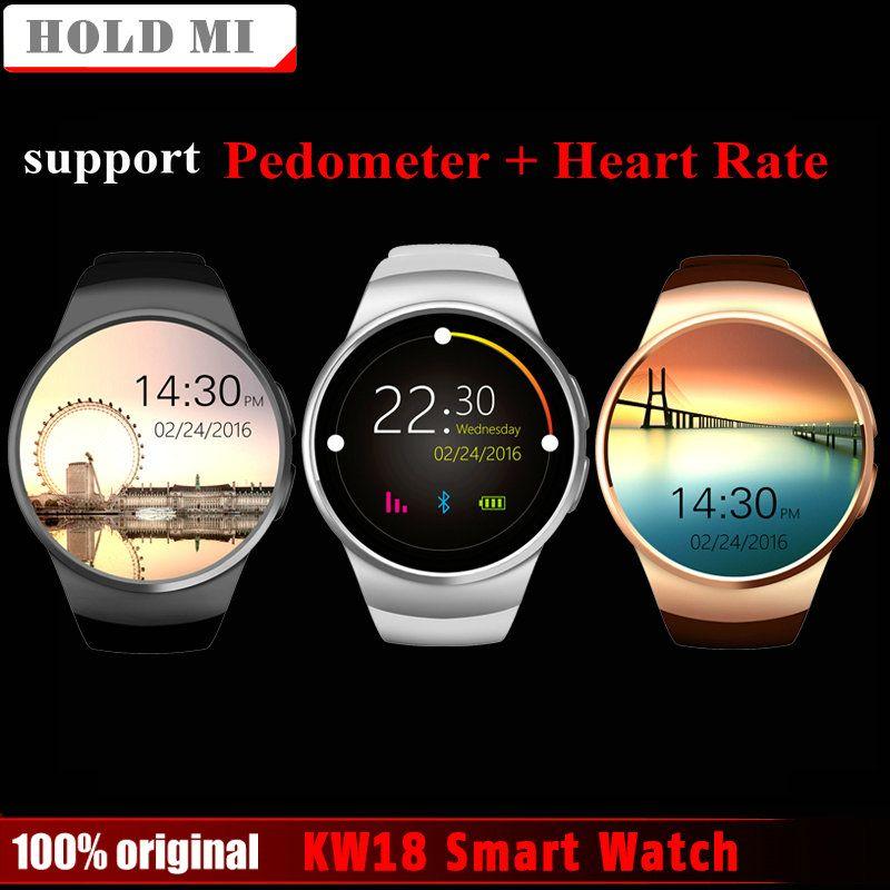 Freies Verschiffen Halten Mi KW18 Smart Uhr Unterstützung SIM TF Karte Pulsmesser MTK2502 Smartwatch für Android IOS Telefon mit Box