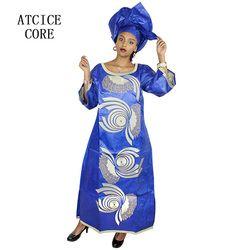 Afrika Gaun untuk Wanita Afrika Kain Panjang Gaun Baru Fashion Bazin Riche Bordir Gaun Panjang Gaun Pakaian Afrika A030 #