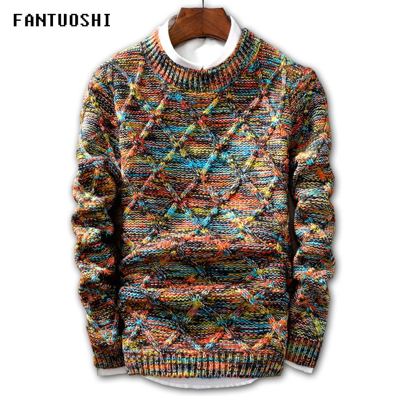 Sweater Men 2018 Brand fashion Pullover Sweater Male O-Neck stripe Slim Fit Knitting Mens Sweaters Man Pullover Men XXL