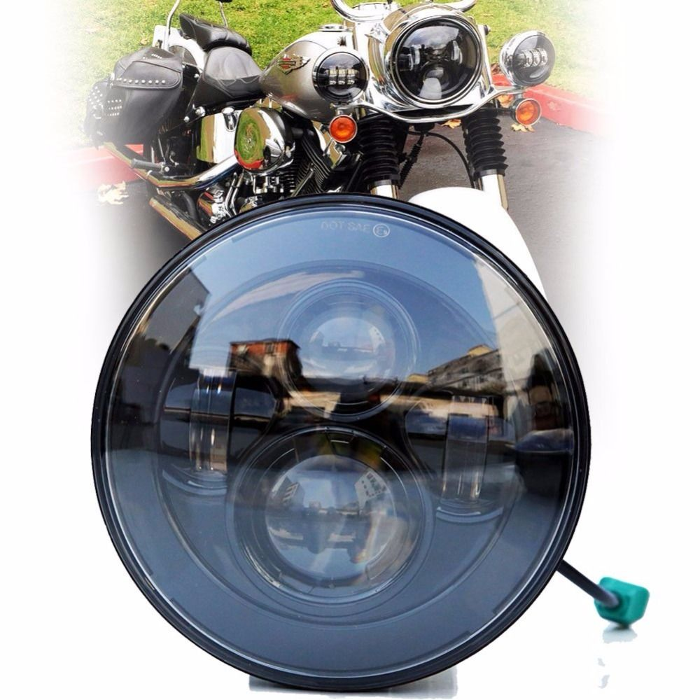 New 7 Inch Motorcycle Projector Daymaker Hi/Lo LED Light Bulb Headlight For Harley
