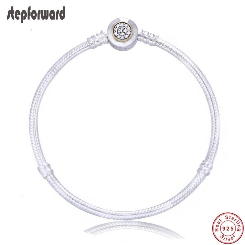 High Quality Popular MOMENTS Two-Tone Signature 925 Sterling Silver Bracelet Fitting European Charms