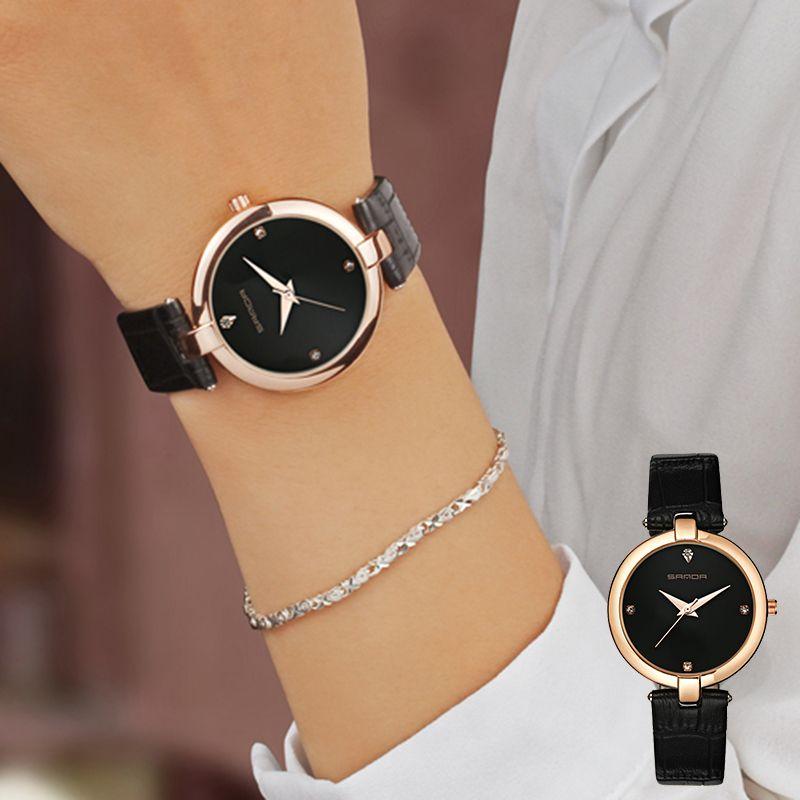 2017 SANDA Fashion Golden Ladies Watch Women Leather Wrist Watches Diamond Gold Clock Saat Relogio <font><b>Feminino</b></font> bayan kol saati