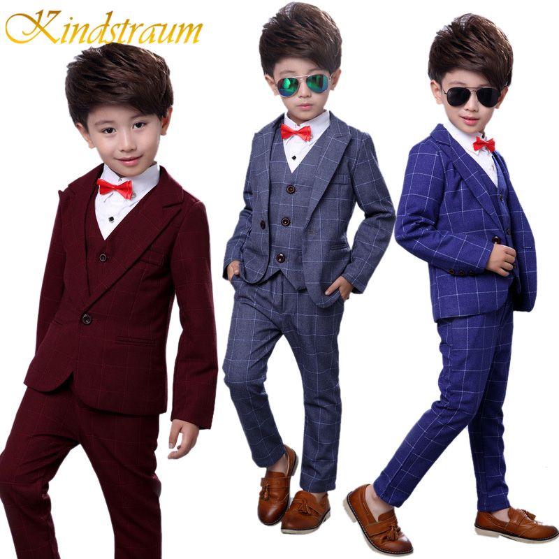 Kindstraum 4pcs Boys Suits for Weddings Cotton Plaid Blazer+Vest+Pants+Shirt Kids Clothing Sets Children Formal Suits, MC727