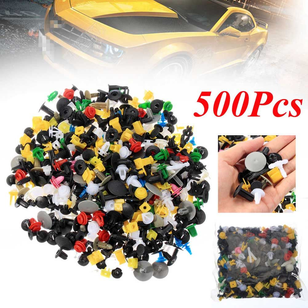 500 Pcs/Set Mixed Color Car Plastic Bumper Rivets Automotive Door Trim Panel Clip Fasteners Retainer Push Pins CSL2017
