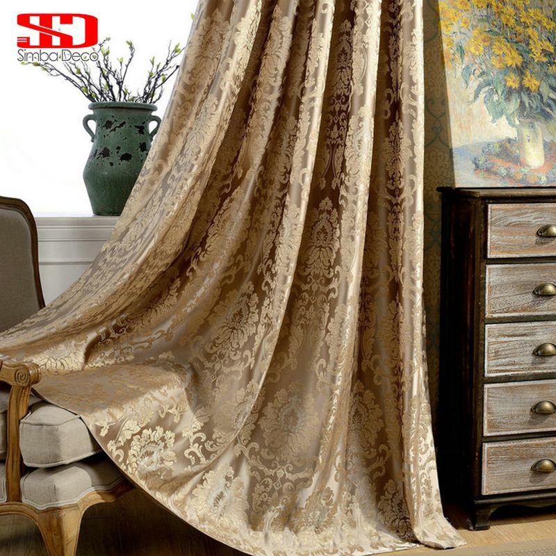 Rideaux damassés européens pour salon luxe Jacquard rideaux aveugles fenêtre panneau tissu rideau pour chambre ombrage 70% personnalisé