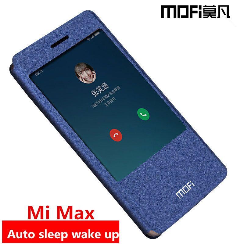 Xiaomi mi max cas flip couverture mi max dos en cuir silicone dur protéger aimant coques de téléphone MOFi d'origine xiaomi mi max cas couverture