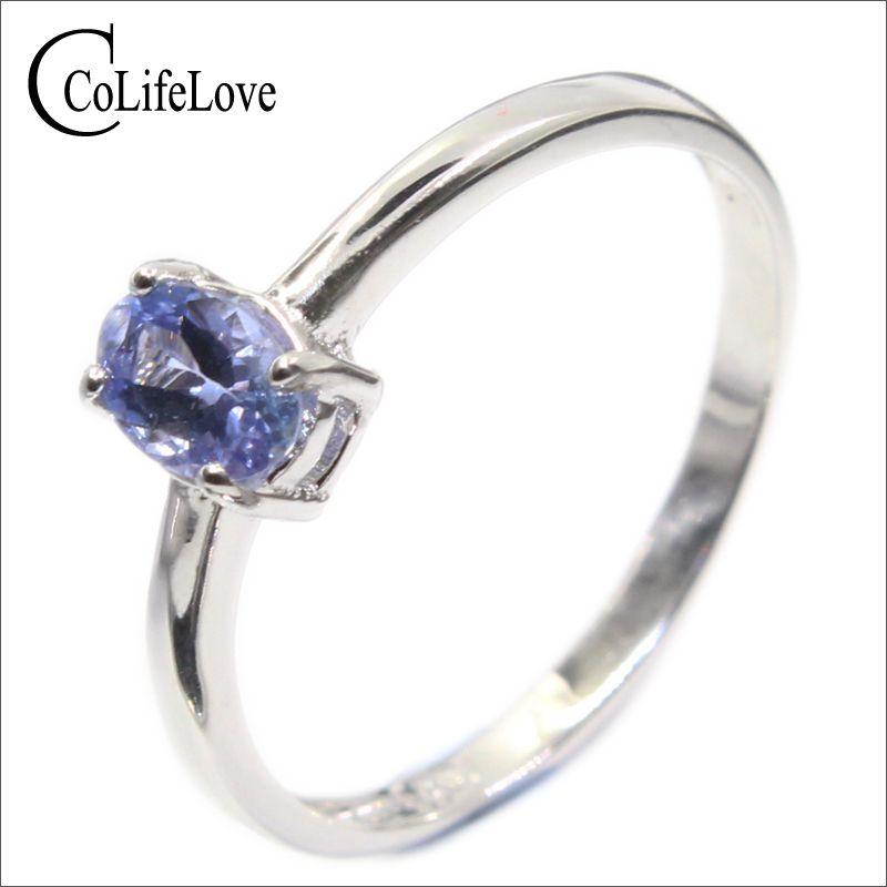 Plata del hotsale anillo de tanzanita 4mm * 6mm real Tanzanite anillo de compromiso sólido 925 anillo de tanzanita romántica regalo