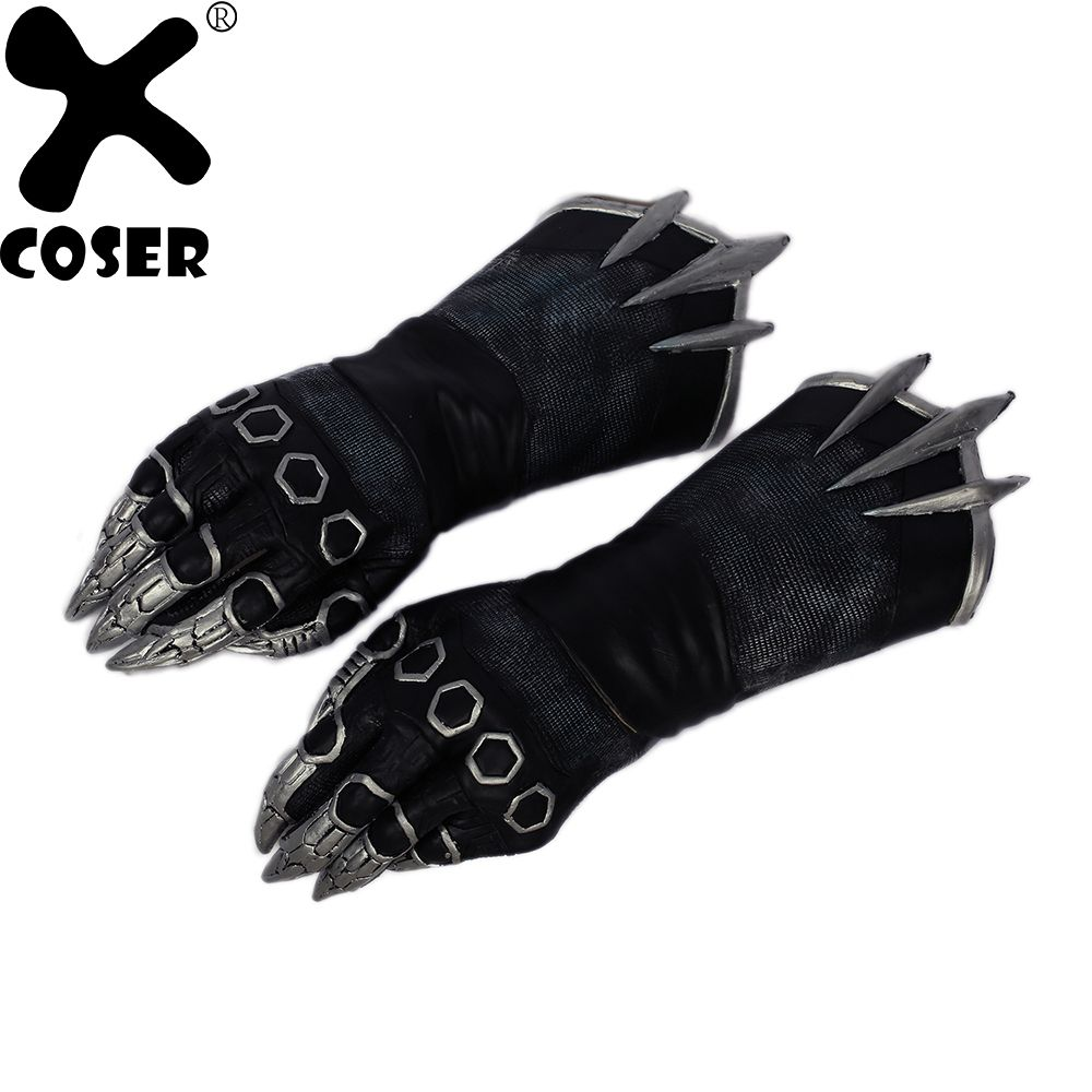 XCOSER Black Panther Claw Gloves New Movie Captain America 3 Civil War Cosplay Props Latex Gloves Halloween Costume Accessory