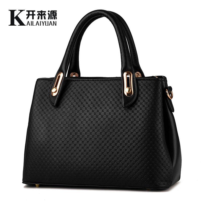 KLY 100% Echtem leder Frauen handtaschen 2018 Neue stil weiblichen stereotypen tasche mode handtaschen Schulter Messenger Handtasche