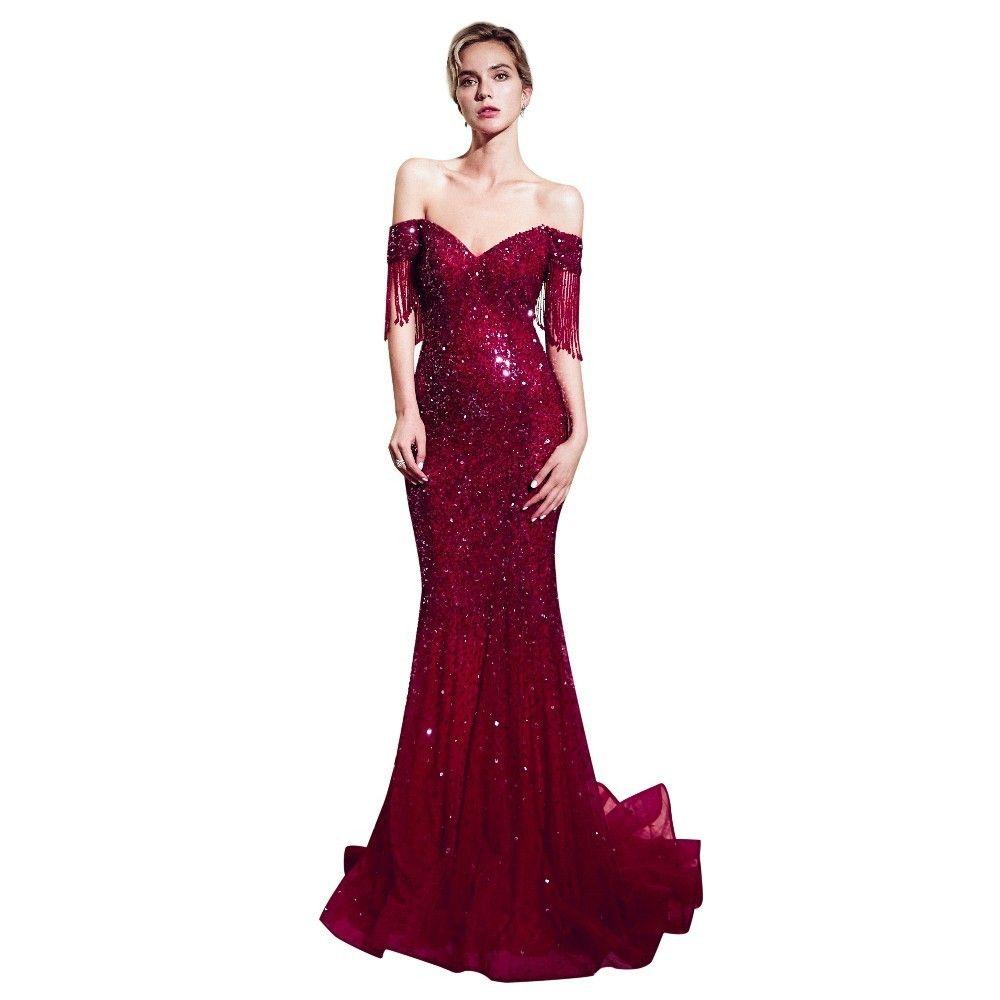 Vivian's Bridal Sweetheart Wine Gold Luxury Evening Dress Tassel Short Sleeve Sequin Zipper Court Train Formal Party Dresses