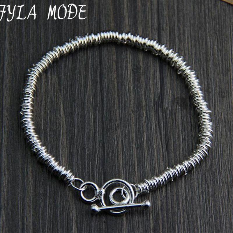 Fyla Mode marca Joyería fina 100% 925 pulsera de plata para los hombres clásico pulsera de encanto pulsera de plata tailandesa hombres wt004