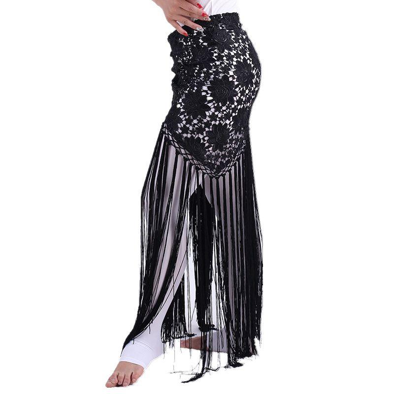 Vêtements de danse du ventre faits à la main femmes Dancewear fleurs longue frange main Crochet Triangle ceinture danse du ventre hanche écharpe dentelle
