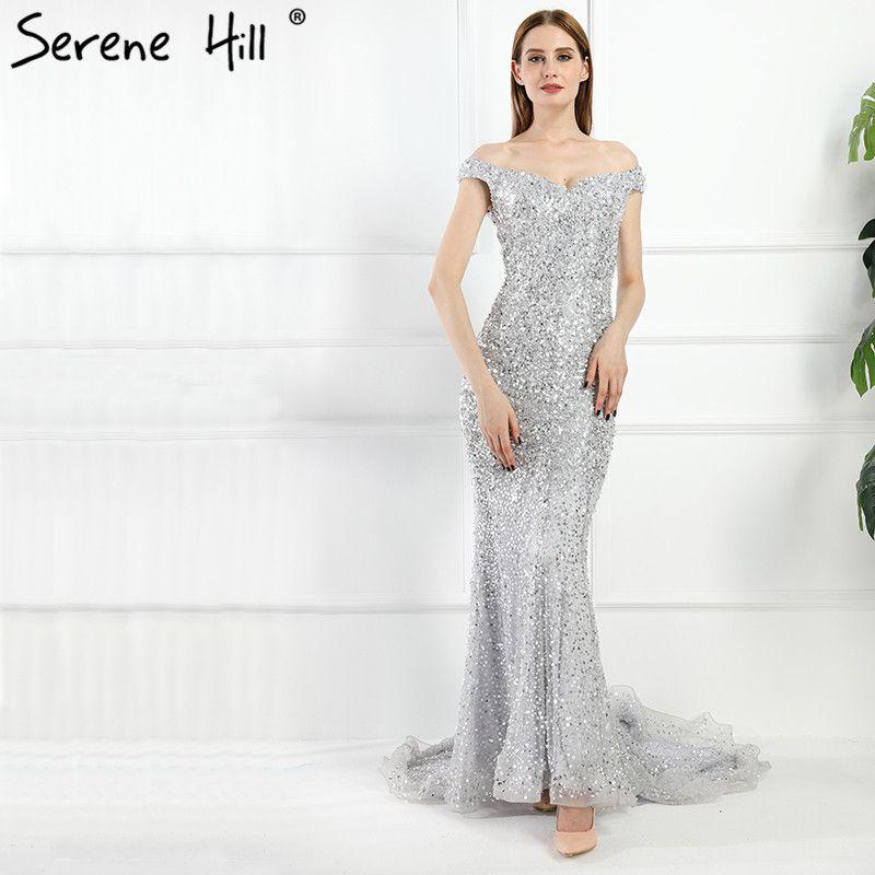 Gorgeous Gray Off Shoulder Mermaid Evening Dresses 2018 Beaded Sequins Low Back Party Gowns Dubai Robe De Soiree BLA6062