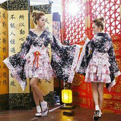 Японское кимоно винтажное Оригинальное традиционное шелковое кимоно-юката платье с Obi сексуальные костюмы