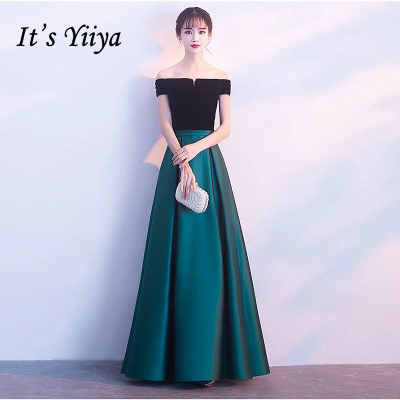 It's YiiYa Classical Off The Shoulder Backless Black And Green Mosaic Evening Dresses Vintage Boat Neck Ankle-Length Dress LX003