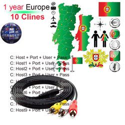10 Clines Cccam TV Cable for Satellite TV Receiver DVB-S2 Support Europe Clines for 1 Year Via Wifi Dongle High Quality Stable