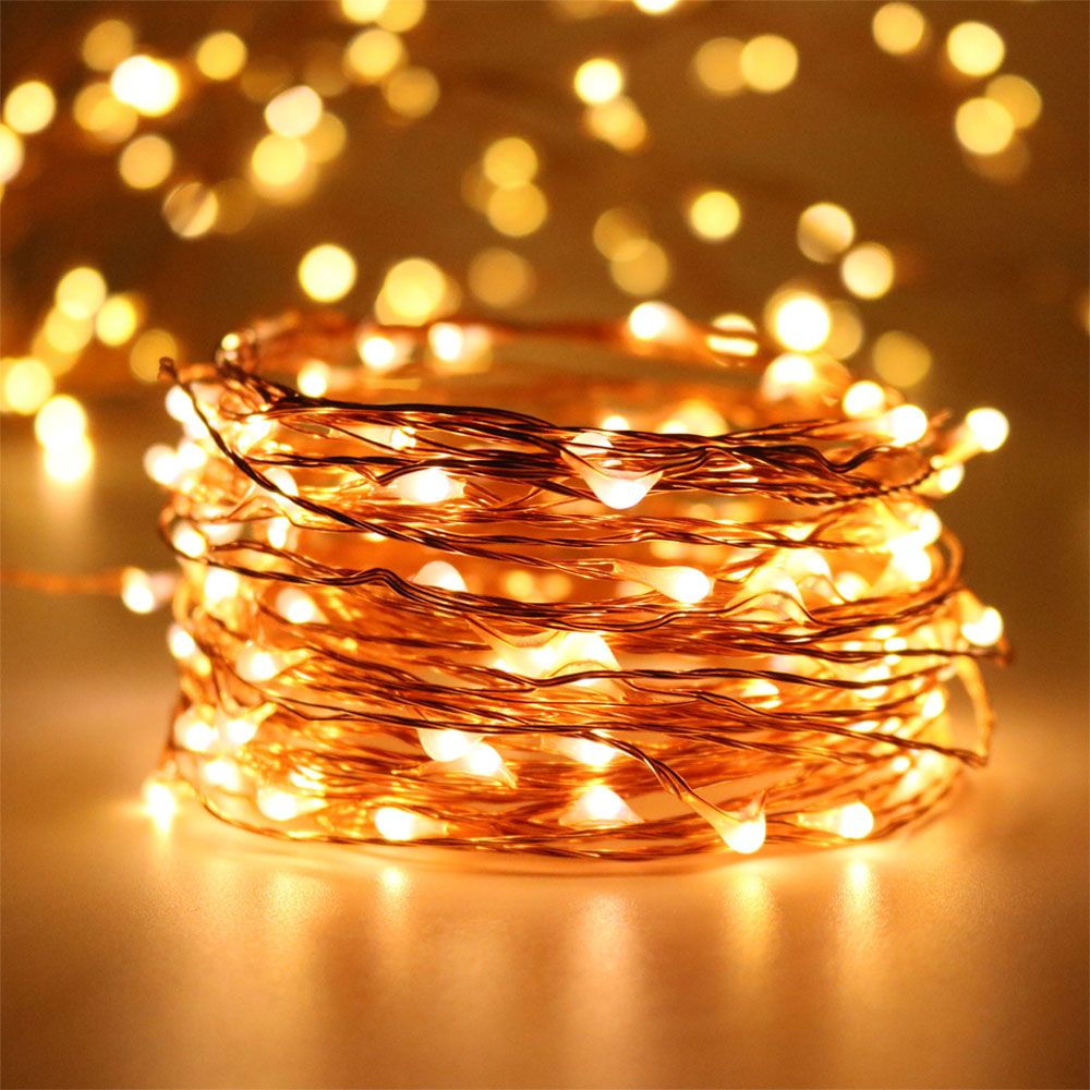 2sets 10meters 100LEDs DC5V waterproof micro LED lamp Christmas star copper wire warm white+CE UL listed power adapter