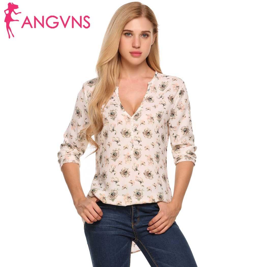 Неповторимый Для женщин шифон Блузки для малышек цветочный Рубашки для мальчиков глубокий v-образным вырезом Осенняя блузка с длинными рук...