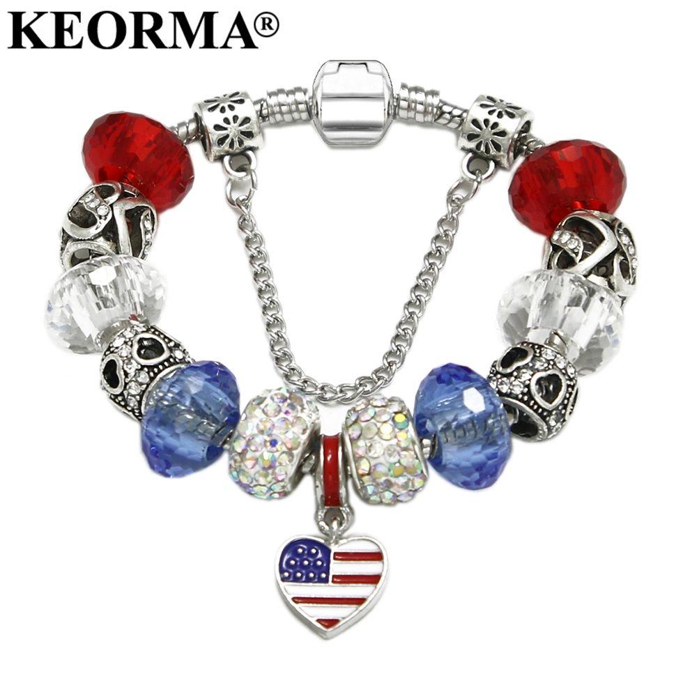 KEORMA moderne USA drapeau américain breloque faite à la main Bracelet avec pendentif coeur femmes mode bijoux amitié meilleur cadeau KM352