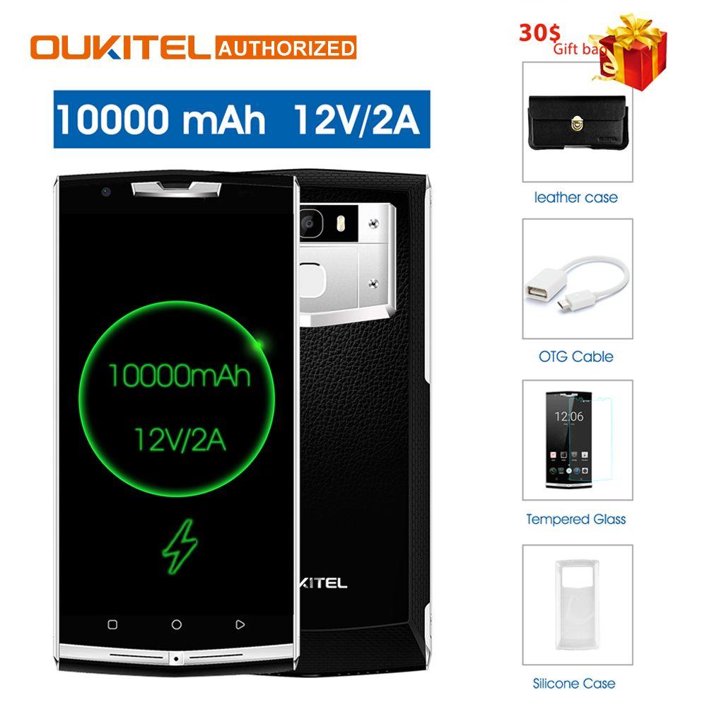$30 geschenk Tasche!! oukitel k10000 pro 4g Handy 5,5 ''4 gb 64 gb 10000 mah 12 v/2A Octa core Android7.0 16.0MP Hinten Smart Handy
