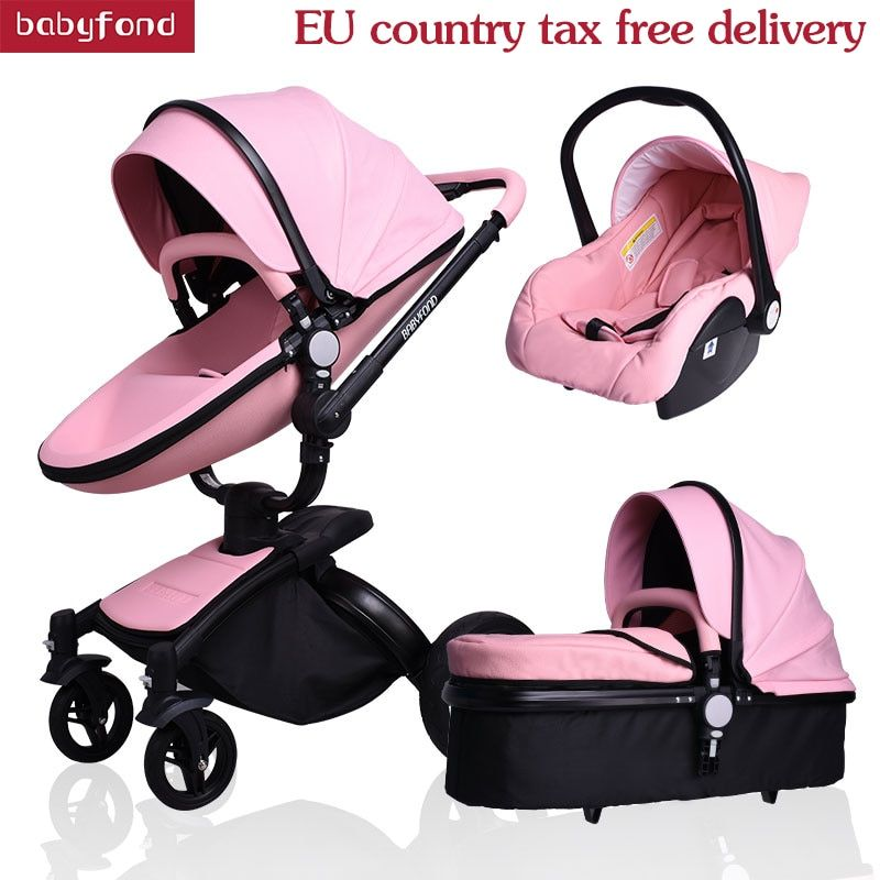 Newborn baby stroller leather baby car 3 in 1 new model baby carriage babyfond baby stroller 4 pcs free gifts