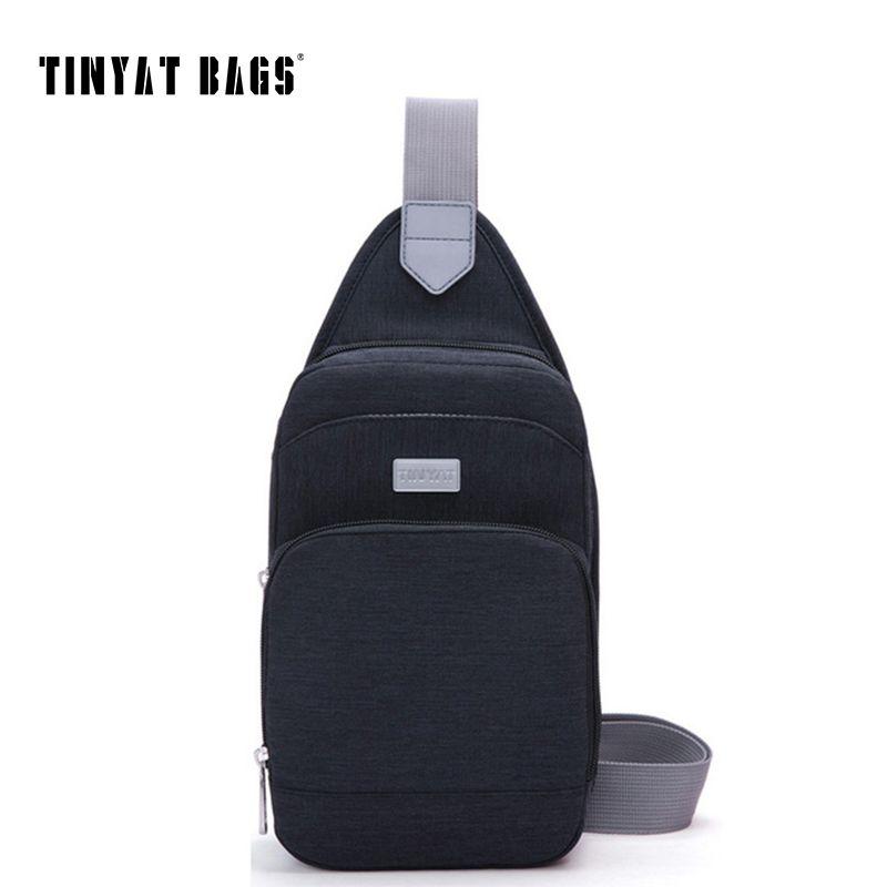 Tinyat Повседневное Для мужчин Груди Сумка wo Для мужчин сумка Портативный сумка водонепроницаемый нейлон сумка T606 черный/ синий