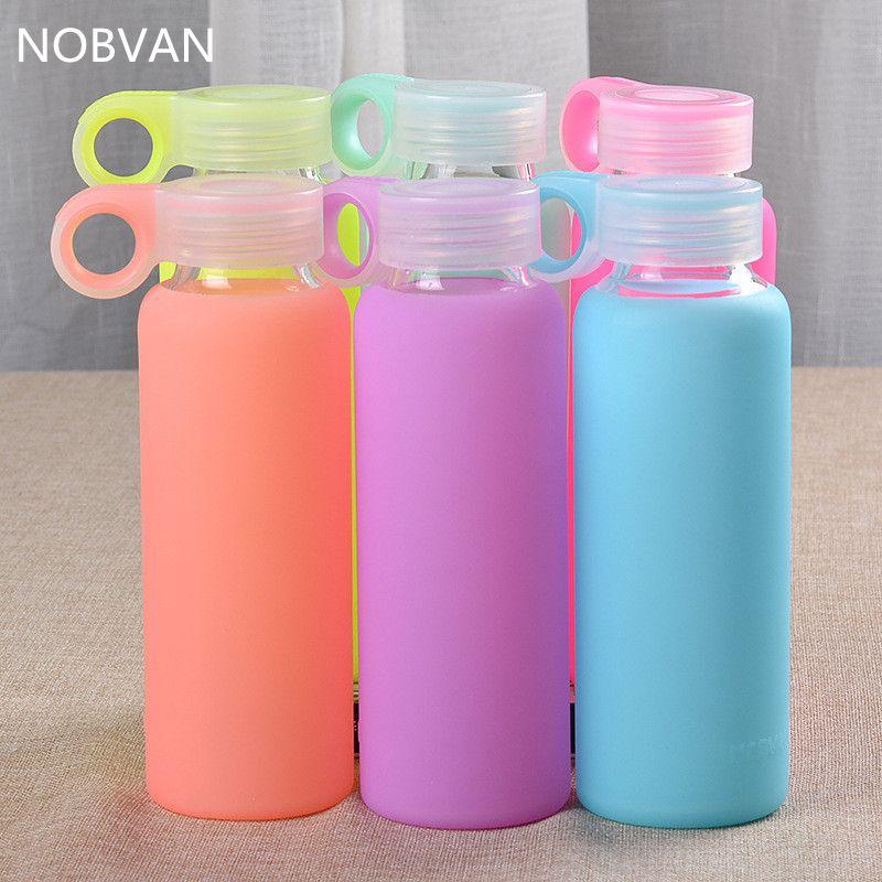 300 ML bonbons couleurs bouteille en verre coloré gelée bouilloire avec couverture en Silicone haute Borosilicate bouteille d'eau mode Sport bouilloires