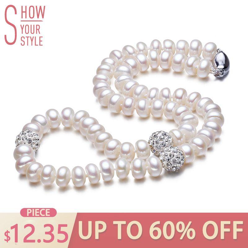 ZHBORUINI 2019 Perle Halskette 925 Sterling Silber Schmuck Für Frauen 8-9mm Kristall Ball Natürliche Süßwasser Perlen Perle schmuck