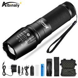 Albinaly Ultra bright Led lampe de Poche CREE XML-T6/L2 8000 LM Led Torche 5 Modèles Zoomables lampe de poche Utiliser 18650 batterie envoyé cadeau