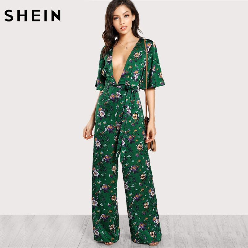 SHEIN Sexy Jumpsuits for Women Bell Sleeve Plunge Neck Self <font><b>Belted</b></font> Palazzo Jumpsuit Multicolor Half Sleeve Floral Jumpsuit