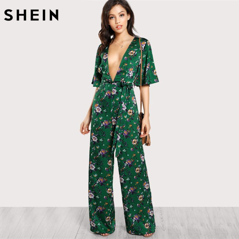 SHEIN Sexy Jumpsuits for Women <font><b>Bell</b></font> Sleeve Plunge Neck Self Belted Palazzo Jumpsuit Multicolor Half Sleeve Floral Jumpsuit