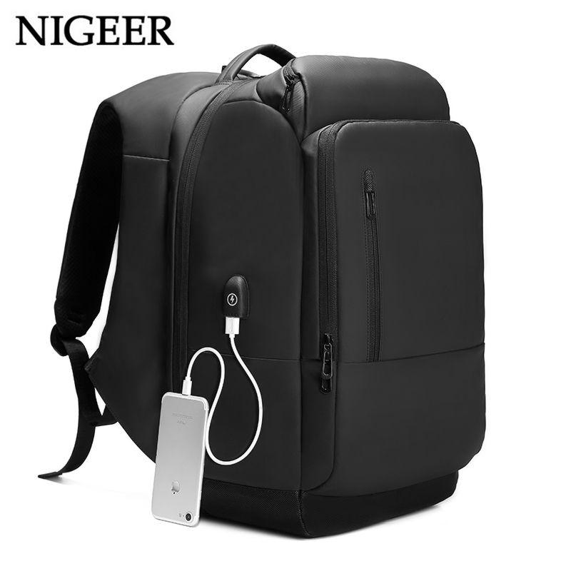 NIGEER 17 inch Laptop Backpack For Men Water Repellent Functional Rucksack with USB Charging Port Travel Backpacks Male n1755